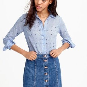 {J. Crew} Perfect Shirt Embroidered Dot