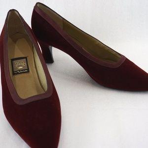Nina Burgundy Red Velvet 9M Pump Heels