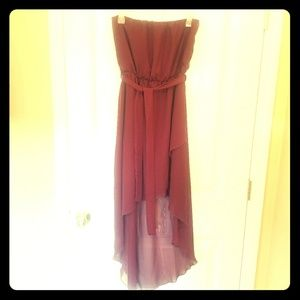 My Story - Maroon/Wine Chiffon Strapless High-Low