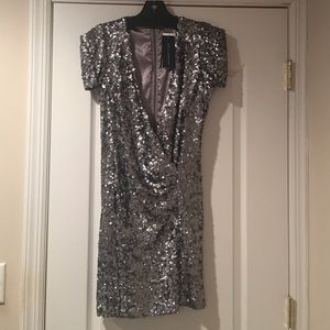 French Connection Silver Sequins Dress