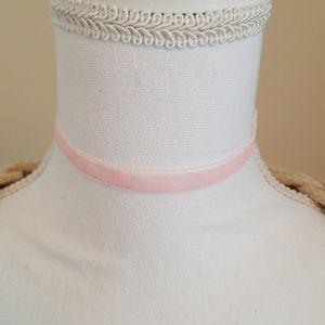 Lt Pink Velvet Choker