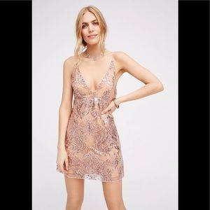 Free People Night Shimmers Mini Dress Sz 4 NWT