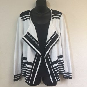 Chico's White and Black Cardigan size 2