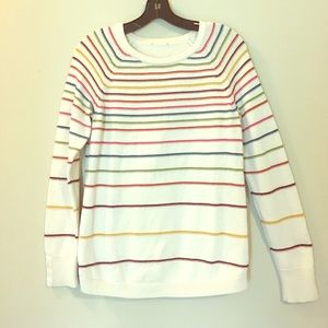 Striped Colorful Woven Knit Long Sleeve Sweater