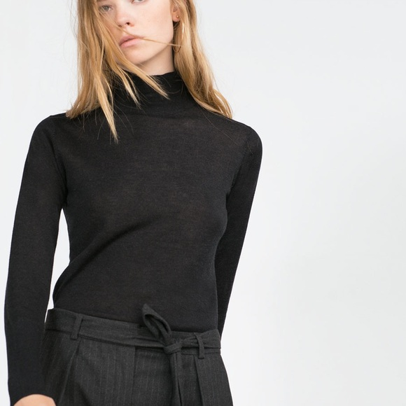 57% off Zara Sweaters - ZARA PERFECT BLACK TURTLE WITH LONG SLEEVE ...