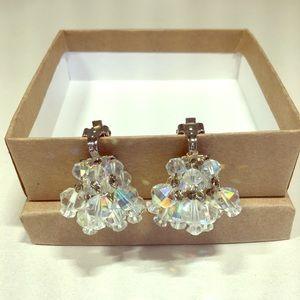 Vintage clip on iridescent bead earrings