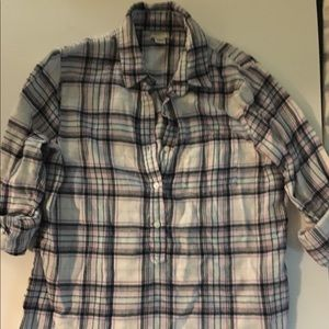 J Crew flannel style pullover, S