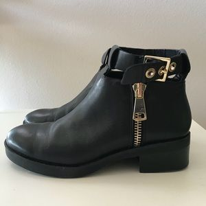 Zara Black Booties with Gold Hardware Size 36