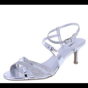 Wide Width Silver Low Heel Sandal