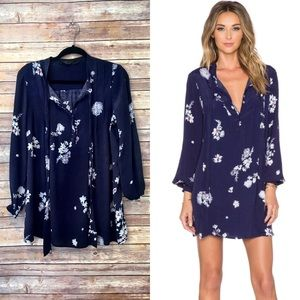 Knot Sisters Canyon blue floral tunic dress
