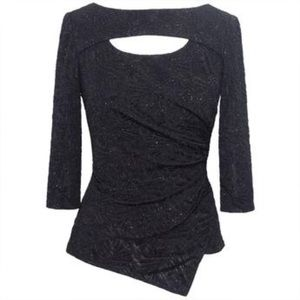 Cutout Front Gathered Side Lurex Top Alex Evenings