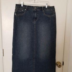 Long Dark Denim Skirt