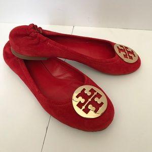 Tory Burch Suede Reva Flats RED sz 8.5