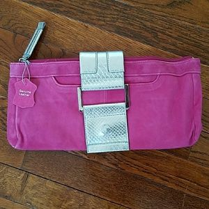 Handbags - Hot pink suede clutch