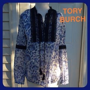 """""""Like New"""" TORY BURCH Blue Tunic Top with Tassels"""