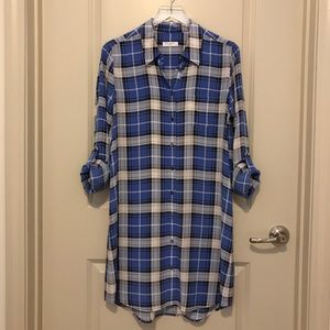 Equipment Brett Blue Silk Plaid Shirt Dress
