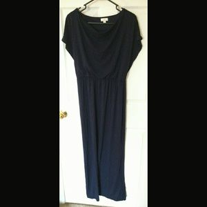 Dark purple/blue maxi dress with cowl neckline