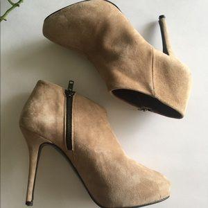 Zara Woman Tan Suede Booties Size 9