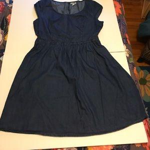 Cap-Sleeve Lightweight Denim Dress