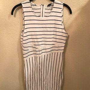 Ann Taylor Black and White Stripe Dress, Size 8,