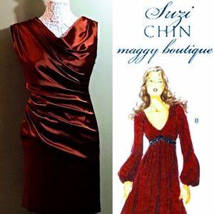 SILK EVENING DRESS SUZI CHIN for MAGGIE BOUTIQUE