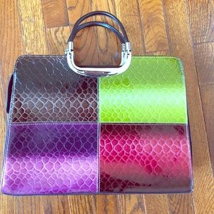 Handbags - Color block imitation reptile tote