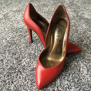 🆕Lanvin red leather structured heels 👠