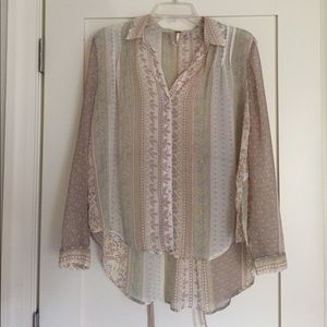 Free People Sheer Button Up
