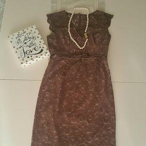 Maggy London Taupe Lace sheath dress