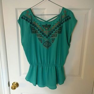 Teal embroidered peplum top