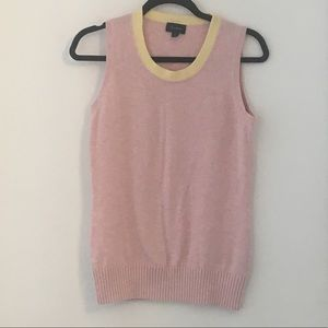 Pink Sweater Vest with Yellow Trim