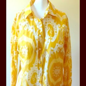 J. Crew Yellow Abstract Silk Blouse Top