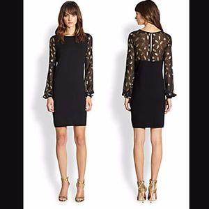 Diane von Furstenberg Black Gold Wool Knit Dress