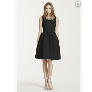 Sleeveless Faille Dress with Beaded Neckline