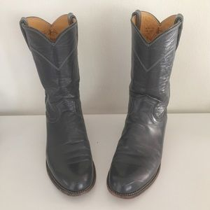 Vintage Gray Leather Western Justin 7 7.5