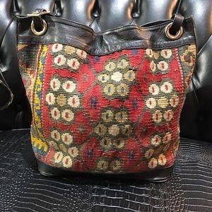 Kilm n leather bucket purse
