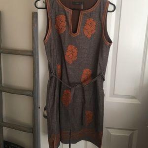 Brown/grey and orange linen dress