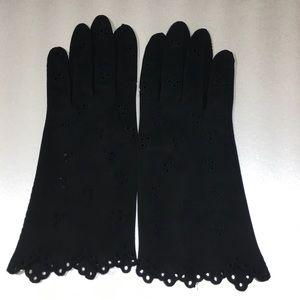 Other - Vintage black eyelet fabric gloves