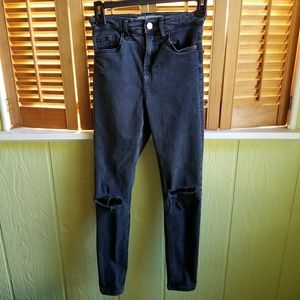 Topshop Jamie washed black distressed jeans