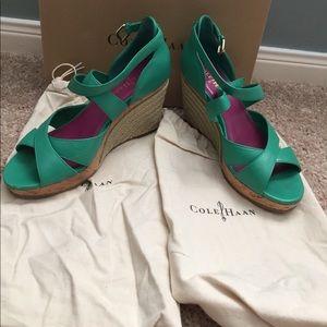 Cole Haan green Nike Air Marisa wedge sandals, 6.5