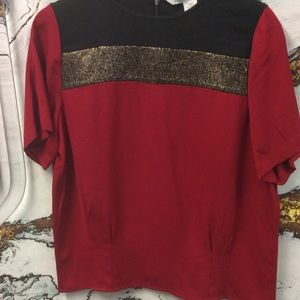 DVF Gold & Red Blouse