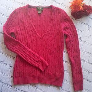 Eddie Bauer Hot Pink V Neck Sweater Sz S