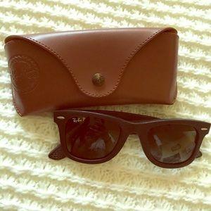 Brand new, 100% black leather Ray Ban sunglasses.