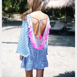 Other - Striped tassel coverup XS
