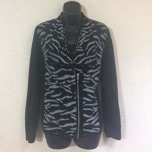 Chico's Black and Zebra Print Sweater size 2