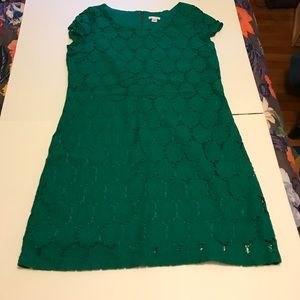 Mod Green Lace Overlay Dress
