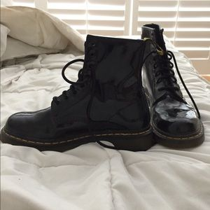 Black patent leather doc martens