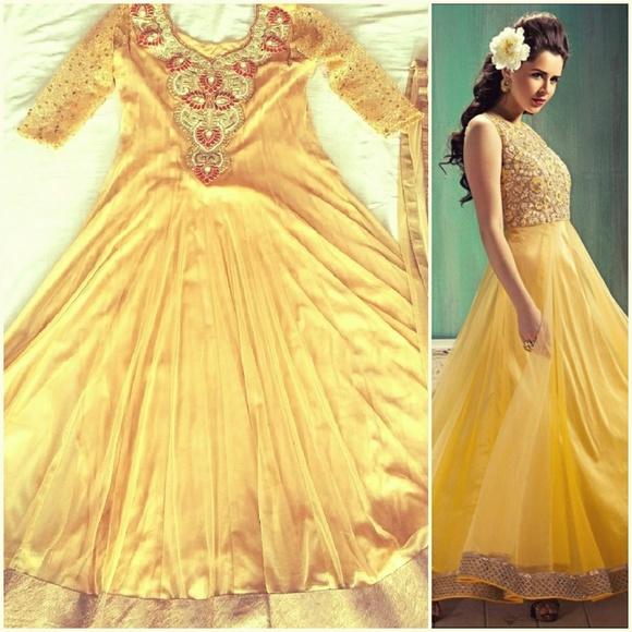16cef853ab Dresses   Golden Anarkali Gown Indian Pakistani Dress   Poshmark