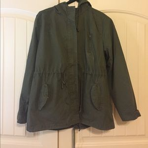 Olive/army green Anorak/ Utility Jacket with hood