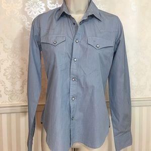 NWT Ralph Lauren Blue Stripe Western Button Down